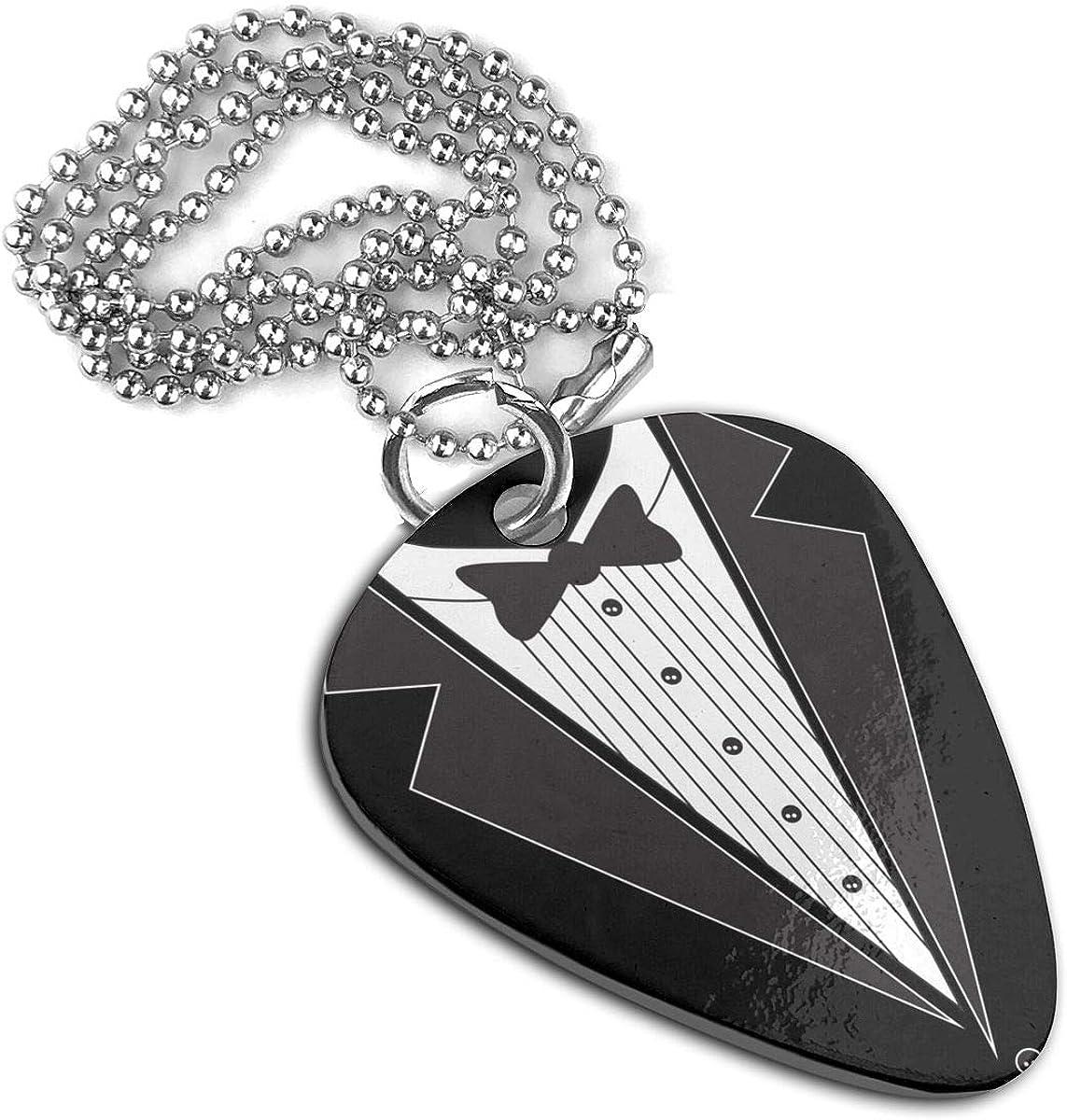 Black Tie Tuxedo Guitar Pick Necklace Pendant Pet Card Keychain