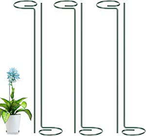 "Metal Garden Plant Stake, 6 Pack Single Stem Plant Cage, Green Steel Plant Supports for Tomato, Rose, Vine, Orchid, Lily, Peony and Other Plant Need Support(15.8"" High)"