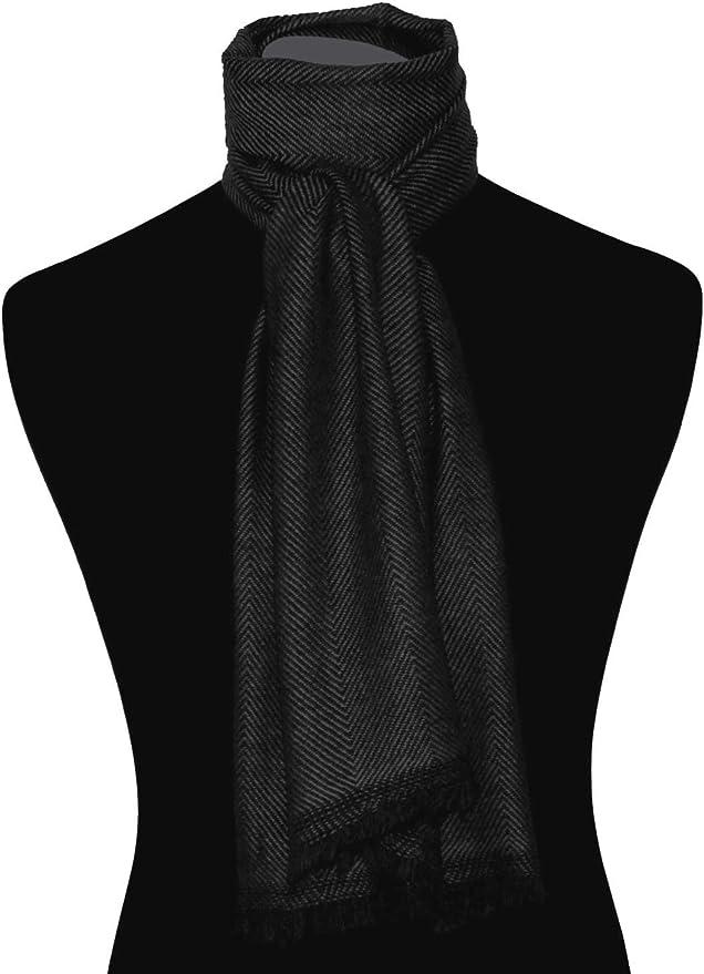 Lorenzo Cana Damen Schal in schwarz 100/% Kaschmir flauschig leicht Kaschmirschal Kaschmirtuch Winterschal Naturfaser naturbelassen Fischgrat gemustert modischer Frauenschal