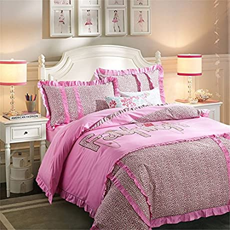 Auvoau Bedding Set Leopard Pink Fashion Girls Cotton Duvet Cover Bedding Sets Queen 5pc With Comforter