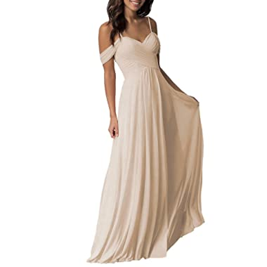 Mismatched Long Cold Shoulder Pleated Chiffon Wedding Bridesmaid Dresses for Women B005