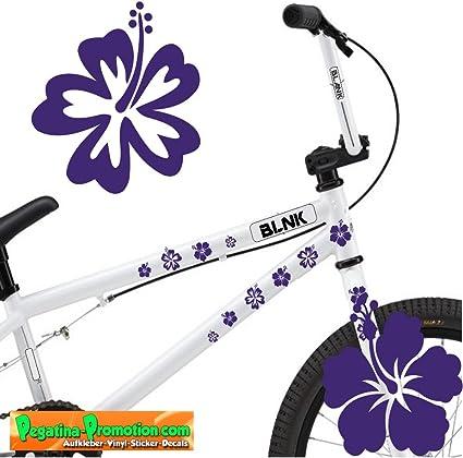 Pegatina para bicicleta (30 flores aprox. 3-4 cm violeta) KT-0112 ...