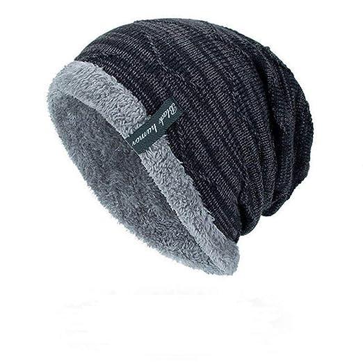 89d373e79 Mens Plus Velvet Knitted Stripe Beanie Hats Outdoor Winter Warm ...