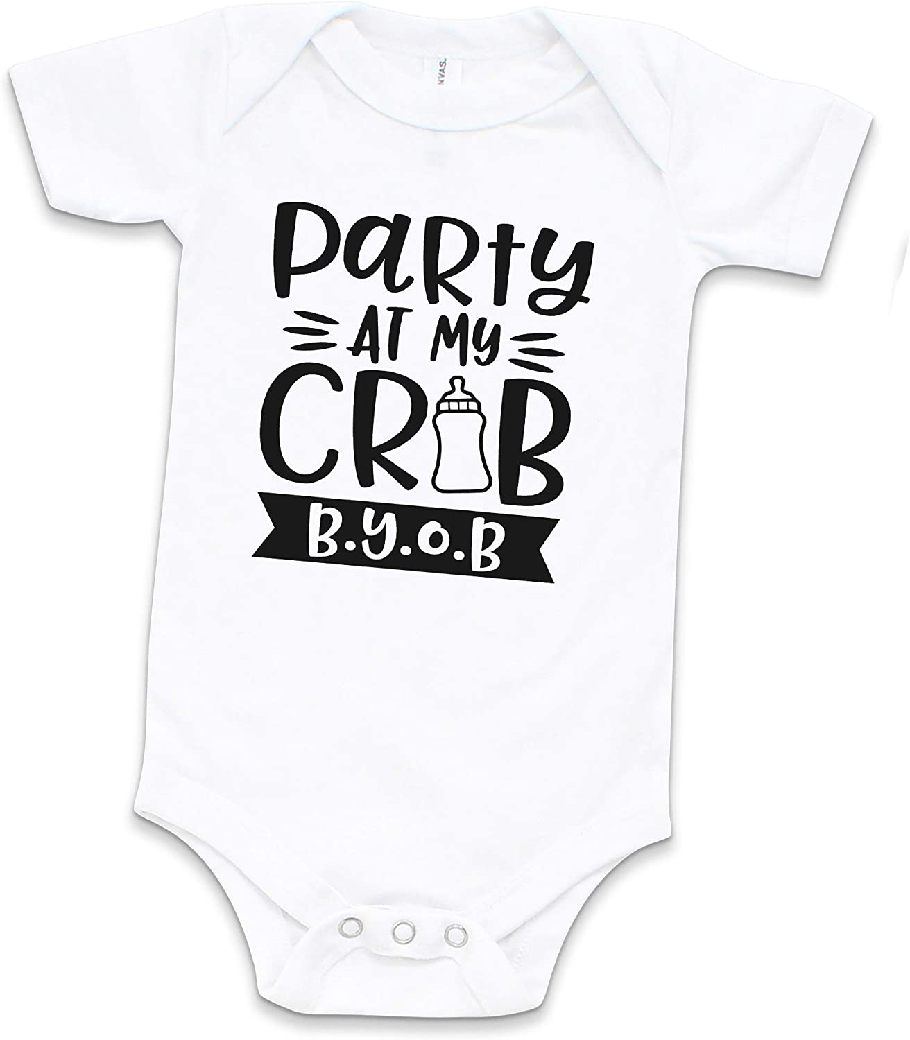 Funny Unisex Bodysuit for Babies Cozy Bear Boutique Party at My Crib Baby Bodysuit White