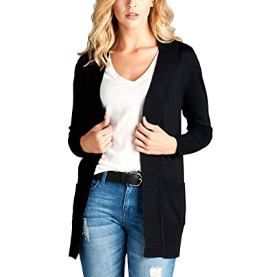 Active USA Shopglamla Solid Long Sleeve Rib Banded Open Sweater Cardigan with Pockets at Amazon Women's Clothing store