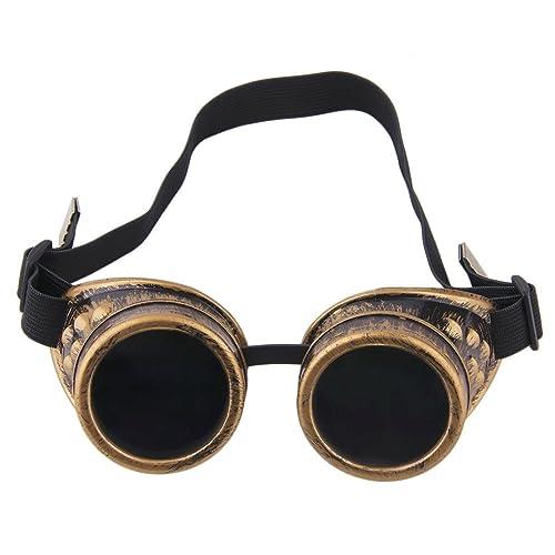 TRIXES Occhialini steampunk regolabili, accessorio, festa, travestimento, ottone metallico