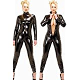 Mirlun Schwarz Sexy Frau Latex Catsuit Schick Bodysuit , l
