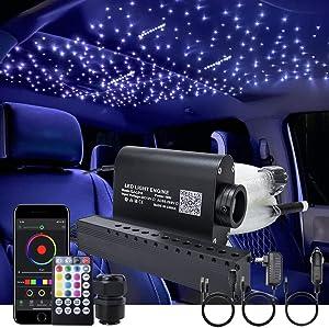 AKEPO 16W Car Home RGBW APP + Music Control + Shooting Star Fiber Optic Lights Star Ceiling Light Kit, Fiber Cable 550pcs 0.75mm 13.1ft/4m + 28key Musical Remote