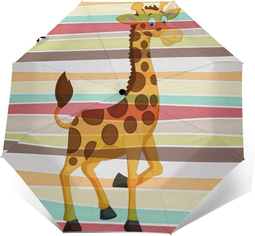 Giraffe Automatic Tri-Fold Umbrella Parasol Sun Umbrella Sunshade