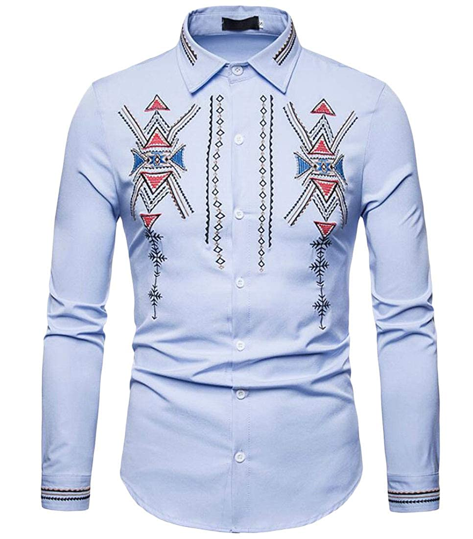 YYear Mens Button Down Fashion Long Sleeve African Print Dashiki Shirts