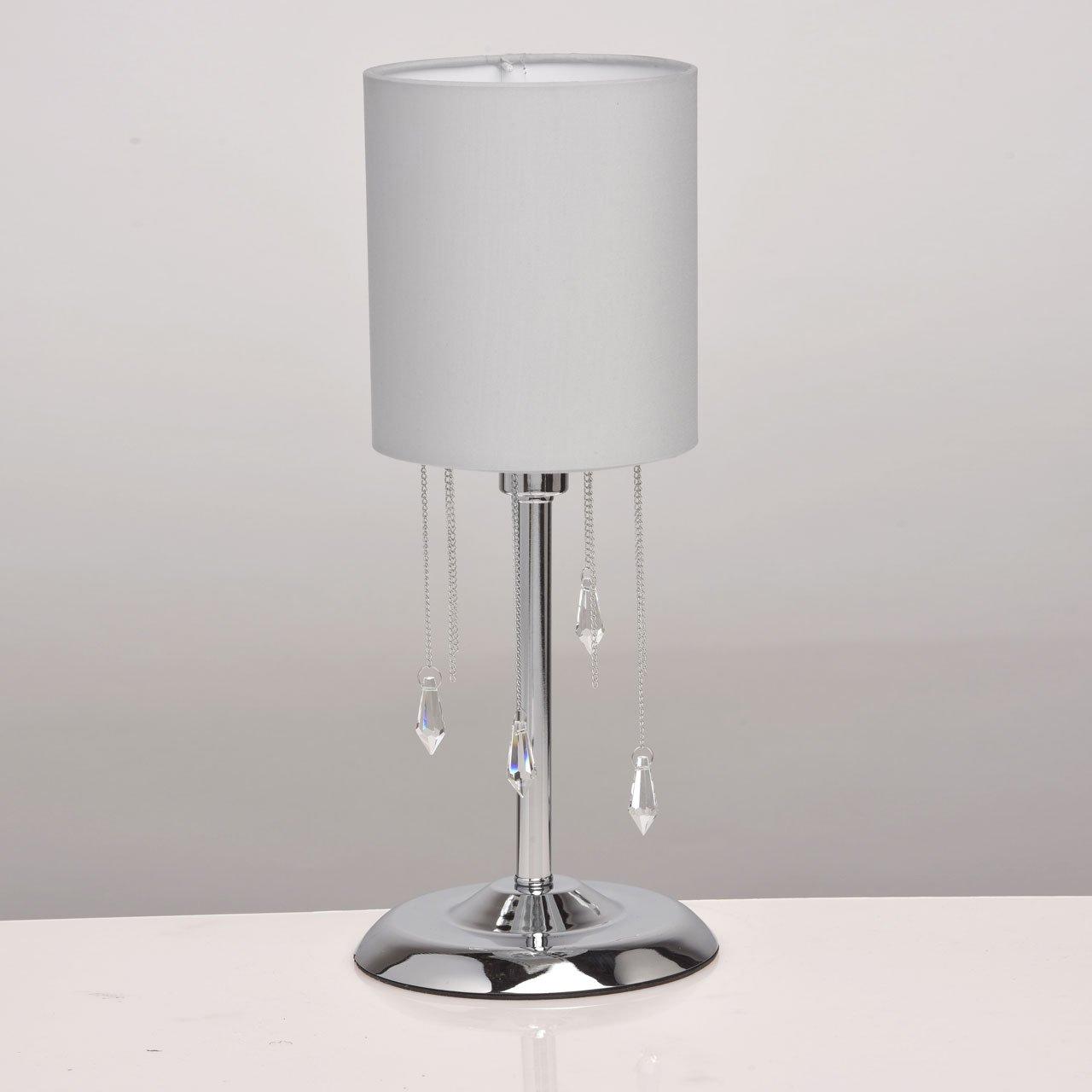 Stilvoller Kronleuchter 8 flammig Chrom Grau Stoffschirme [Energieklasse A] MW-Light