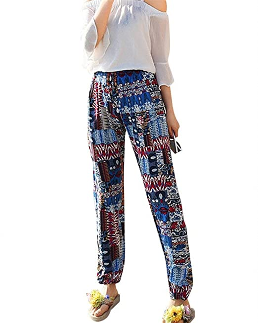 Pantalones Verano Mujer Elegantes Vintage Boho Etnica Estilo Impresión  Beach Pantalones Hippies Elastische Taille Modernas Casual Anchas Peso  Ligero ... bfaccabecdd9