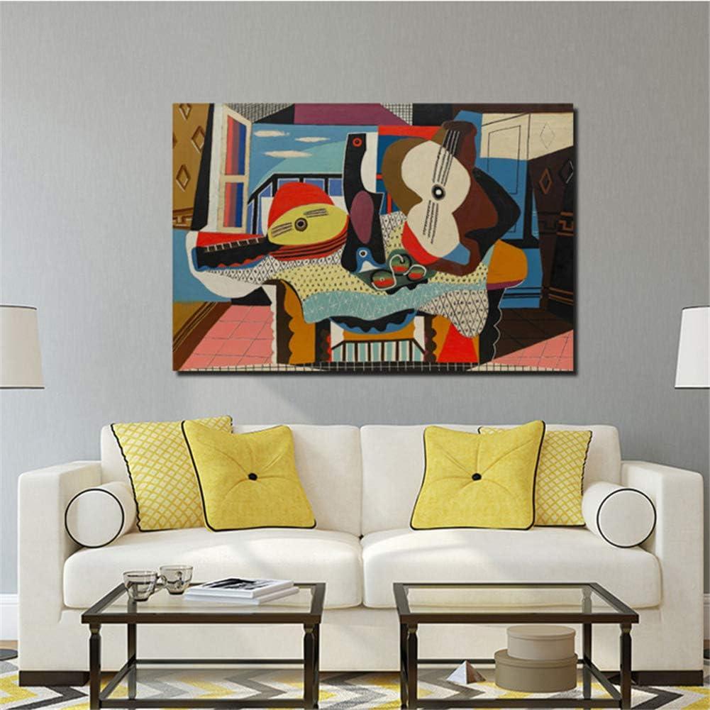 arteWOODS Pablo Picasso Mandolina y Guitarra Lienzo Pintura Carteles Mármol Arte de la Pared Cuadros Decorativos Decoración Moderna para el hogar 50x70cm Sin Marco