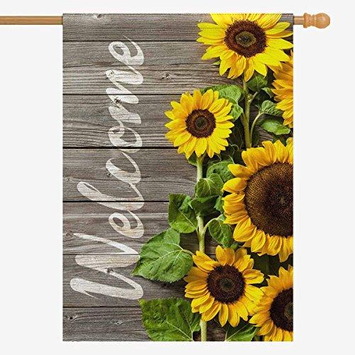 InterestPrint Autumn Sunflowers Wood Pattern House Flag Hous
