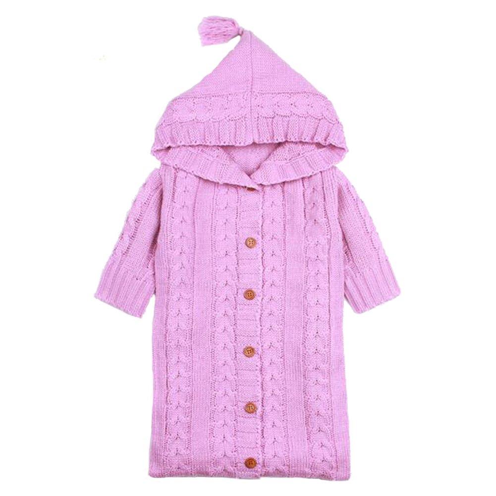 EITC新生児ソリッドカラーSleeping Blanket WrappedベビーセーターキュートSleeping Bag 0 – 12ヶ月の ホワイト B0784LLHT5  ピンク