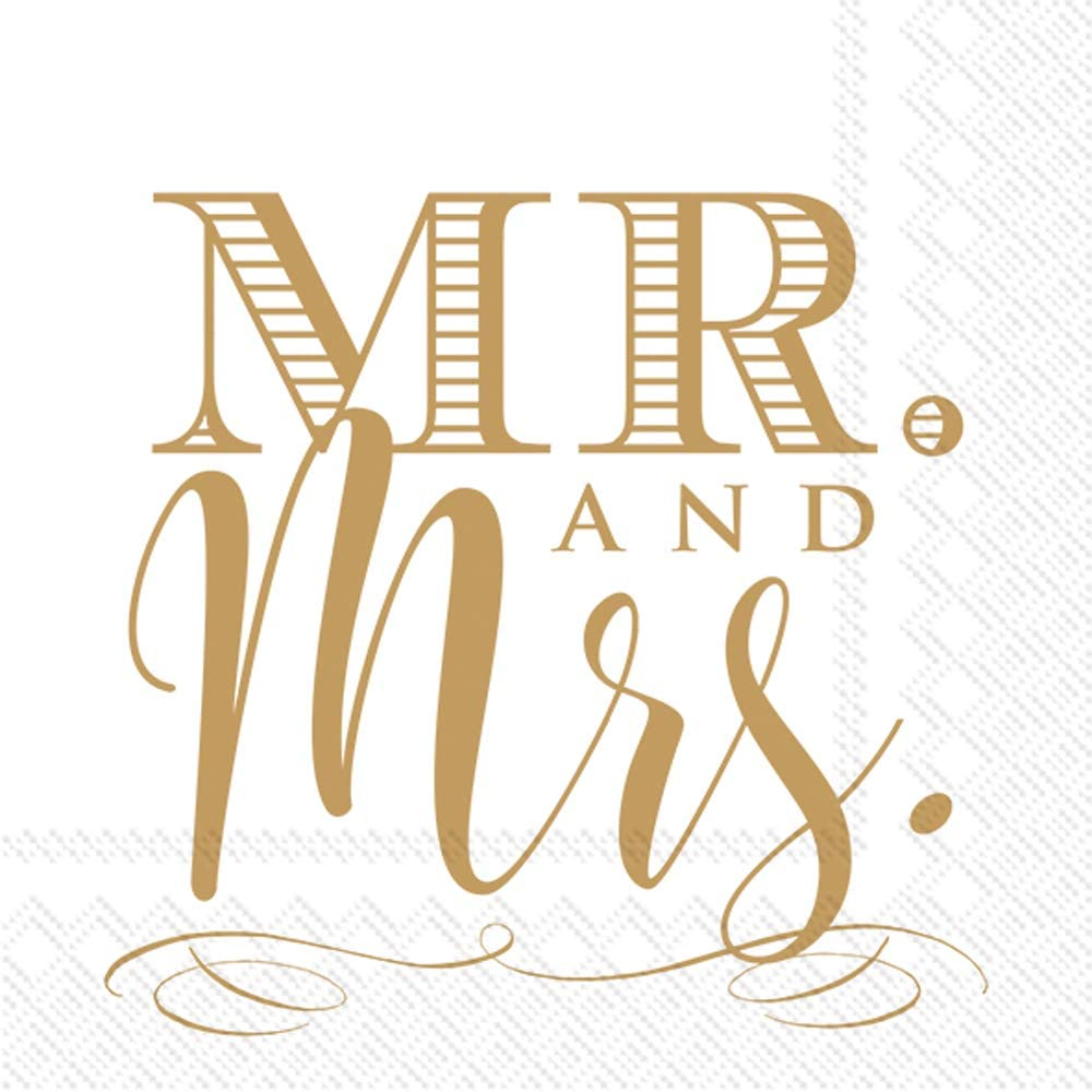 Boston International IHR 3-Ply Paper Cocktail Napkins, 5 x 5-Inches, Mr. and Mrs. Gold,C818309