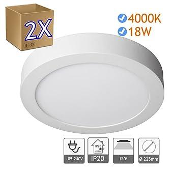 2 Downlight led superficie luz blanca fria 6000K, luz blanca natural 4000K, con el
