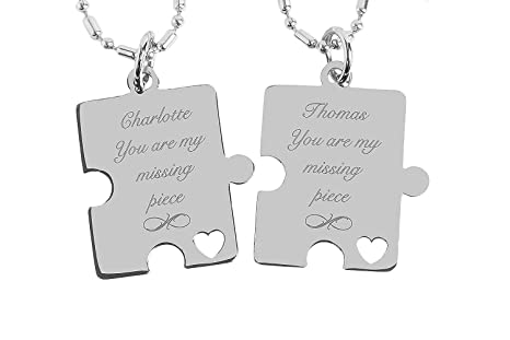 9edd5b697b Amazon.com: Engraved Stainless Steel Puzzle Pieces Necklace Set ...