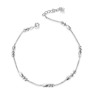 Cavigliera per donne ragazza cavigliere in argento Sterling 925 24,9/cm lunghezza regolabile da a 21,1/