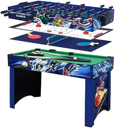 IOIOA Multifunción de 4-en-1 de Billar/futbolín/Hielo Hockey de Mesa/Ping-Pong Familias - recreativos Futbolín Salas de Juego, Arcadas, Bares, Fiestas, Noche Familiar - Blue: Amazon.es: Deportes y aire libre