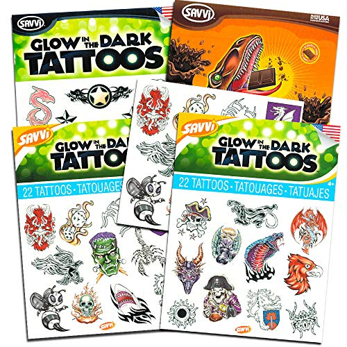 Glow in The Dark Temporary Tattoos for Boys Party Pack ~ Over 100 Tattoos Featuring Dinosaurs, Pirates, Monsters, Spaceships and More (8 Party Favors Sheets) -