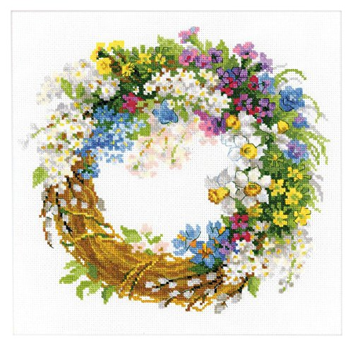 RIOLIS 1536 14 Count Wreath with Bird Cherry Counted Cross Stitch Kit, 11.75