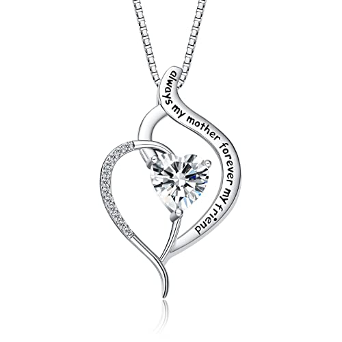 FANCYCD Always My Mother Forever My Friend Love Heart Necklace, 18