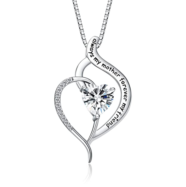 """FANCYCD Always My Mother Forever My Friend Love Heart Necklace, 18"""", Special Jewelry for Women, Mother's Day Gifts for Mom, Wife, Aunt, Grandma."""