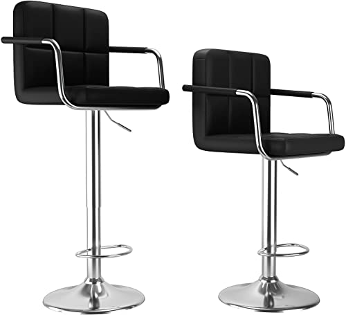 Glitzhome Mid Century Style Adjustable Swivel Bar Stool with Back Support Leatherette Dining Chairs Dark Blue Set of 2