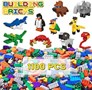 Lucky Doug Building Bricks 1100 Pieces Set, Classic Building Blocks with 10 Animal Block Kit in 16 Colors 26 S
