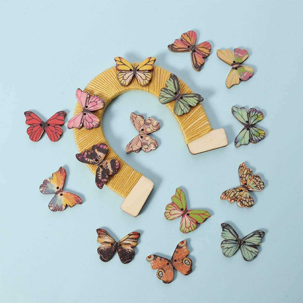 angelikashalala 50PCS Wooden Butterflies Buttons Mixed Colours Craft Buttons for DIY Crafting Sewing Decoration