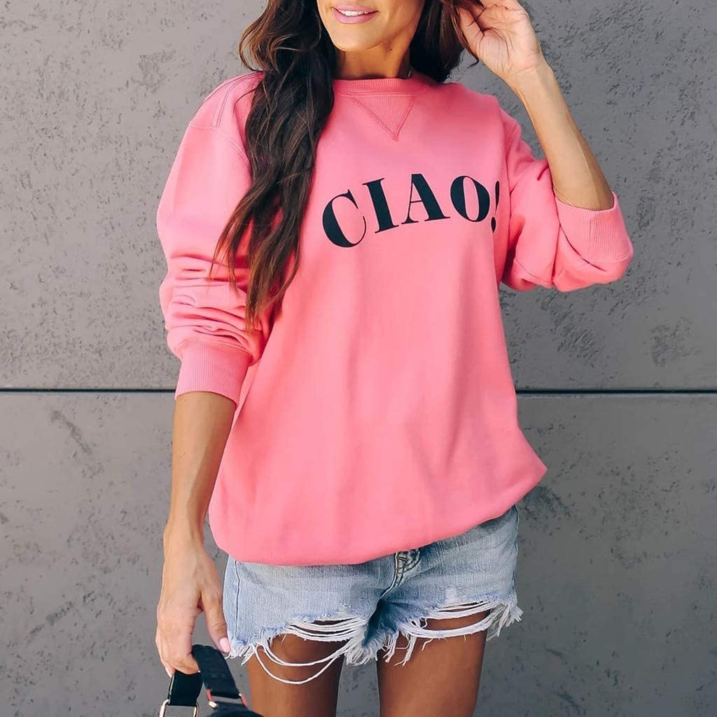 Gergeos CIAO Womens Casual Pullover Fashion Autumn Long Sleeve Tops Crew Neck Sweatshirt
