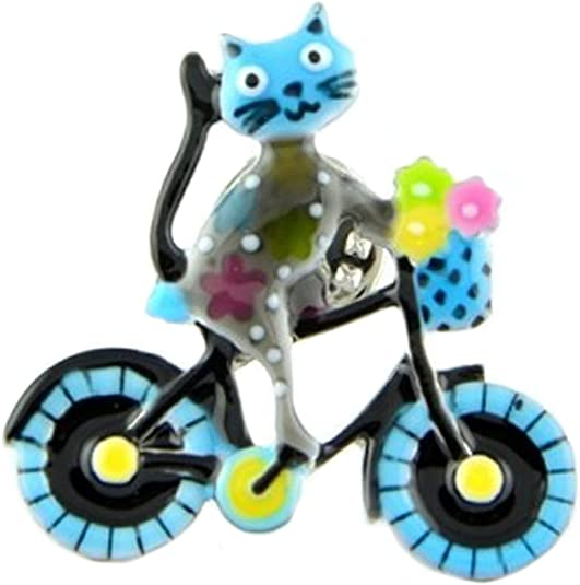 Les Trésors de Lily [Q1615 - Pin Brooch creador Lilipoupettes (Bicicleta Gato) Gris Azul - 33x33 mm.: Amazon.es: Joyería