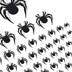 Halloween Home Decorations, 60 PCS 3D Large Spider, Realistic PVC Spider Stickers for Halloween Eve Party Supplies, DIY Scary Room Wall and Window Decor