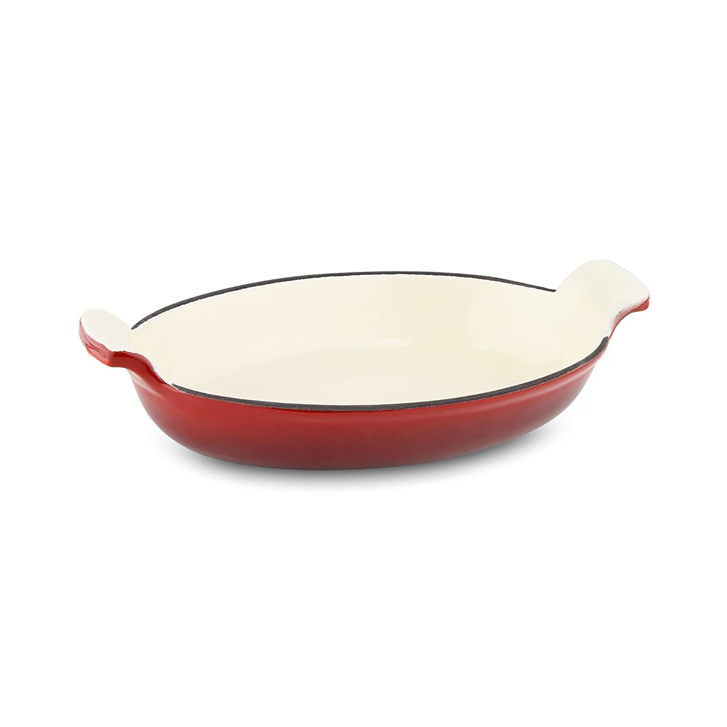 Commichef Provencale Professional Cast Iron Oval Gratin Dish, Red, 26 x 16cm, 600ml Grunwerg AGO-26R