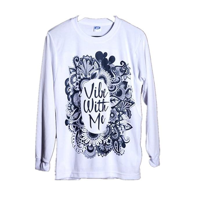BOMOVO Moda Europa para las mujeres etnica de impresion Blusa sudor camisa Blanco