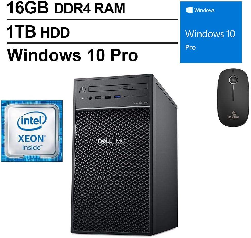 2020 Newest Dell T40 Premium Desktop, Intel Core Xeon E-2224G up to 4.7 GHz, 16GB DDR4 RAM, 1TB HDD, DisplayPort, DVD-RW, Windows 10 Pro, Black + NexiGo Wireless Mouse Bundle