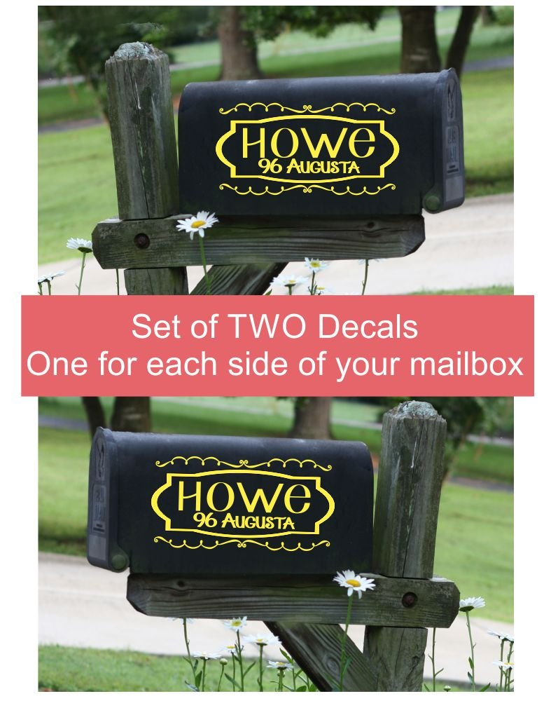 Mailbox Decals Set of 2 Frame with Swirls House Number and Street Name Address by Wall Decor Plus More