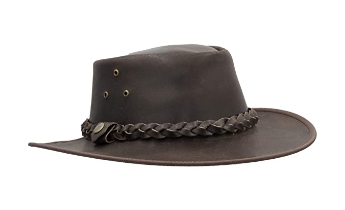 1459d133 Walker and Hawkes - Leather Cowhide Outback Braided Traveler Hat - Brown -  S (57cm
