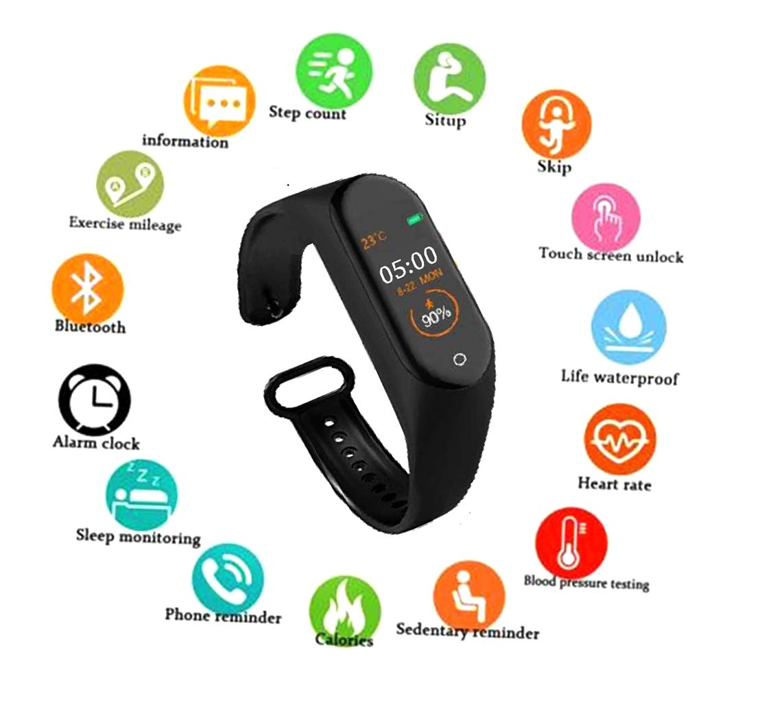 SBA999 NM-4 Smart Waterproof Intelligent Activity Tracker | Fitness Band Compatible to Xiaomi/Oppo/Vivo Mobile Phones Steps,Calorie Counter,BP, Heart Rate Monitor Music,Camera Controller