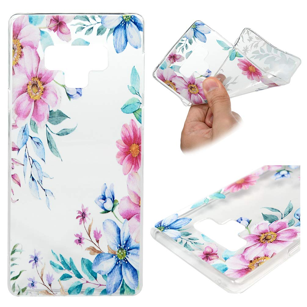 Galaxy Note 9 Case, Galaxy Note 9 Cover Ultra Slim Skin HD Clear & Full TPU Soft Shockproof Drop Pretective Shell for Samsung Galaxy Note 9, Pink Flower