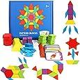 GEMEM 155 Pcs Wooden Pattern Blocks Set Geometric Shape Puzzle Kindergarten Classic Educational Montessori Tangram Toys for Kids Ages 4-8 with 24 Pcs Design Cards