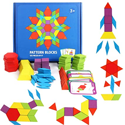 GEMEM 155 Pcs Wooden Pattern Blocks Set Geometric Shape Puzzle Classic  Educational Montessori Tangram Toys for Kids Ages 4-8 with 24 Pcs Design  Cards