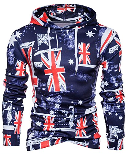 Fensajomon Mens British Flag Print Pullover Hooded Sweatshirts Coat As Picture S