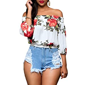 Women Floral Printed Off the Shoulder 3/4 Sleeve Tunic Blouse Top (S, White)
