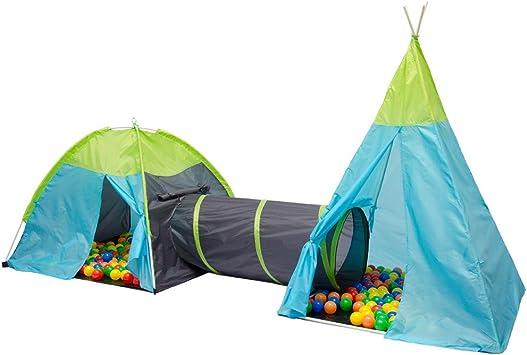 Tienda de campaña infantil POCAHONTAS Incl. Túnel + bolsa   juego para niños ideal para casa y exteriores   ligera   plegable