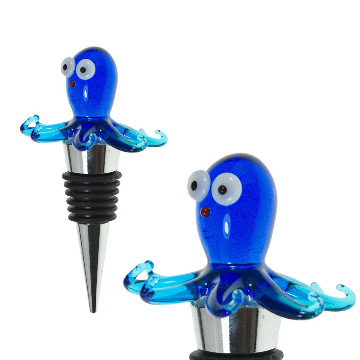 Glass Octopus Wine Bottle Stopper (20+ Designs to Choose From) - Colorful, Unique, Handmade, Eye-Catching Decorative Glass Wine Bottle Stopper … (Octopus)