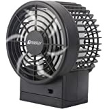 TERSELY Mini Desk Desktop USB Fan, 2 Speeds, Lower Noise, USB Powered, Adjustable Angle, Double Blades, 1M Cable, Powerful Portable Table Fan for Home and Office - Black