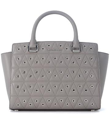 f005b8e0fff93 Amazon.com  Michael Kors Women s Selma Medium Top Zip Satchel (Pearl Grey  Grommet)  Shoes