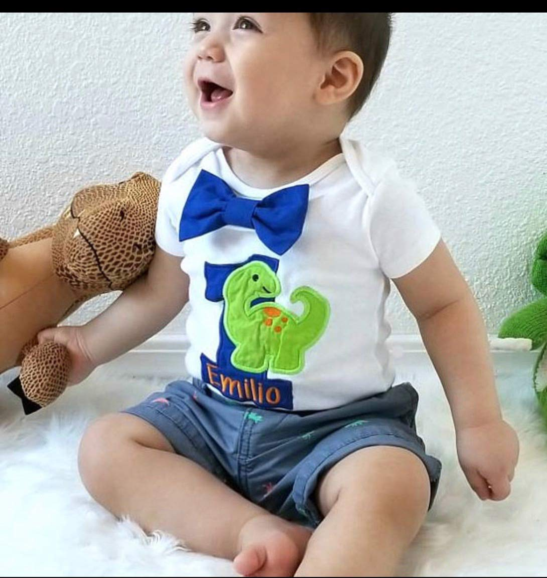 One Birthday Dinosaur Shirt for Boys Short Sleeve First Birthday Dinosaur Outfit